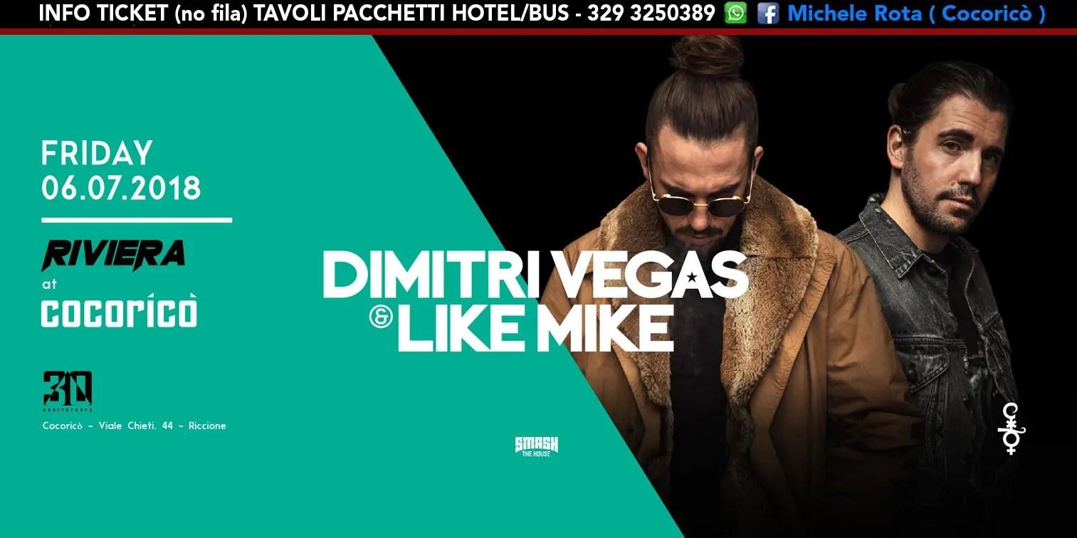 Dimitri Vegas & Like Mike al Cocoricò RIVIERA Riccione Notte Rosa – Venerdì 07 Luglio 2018 | Ticket Tavoli Pacchetti hotel Prevendite