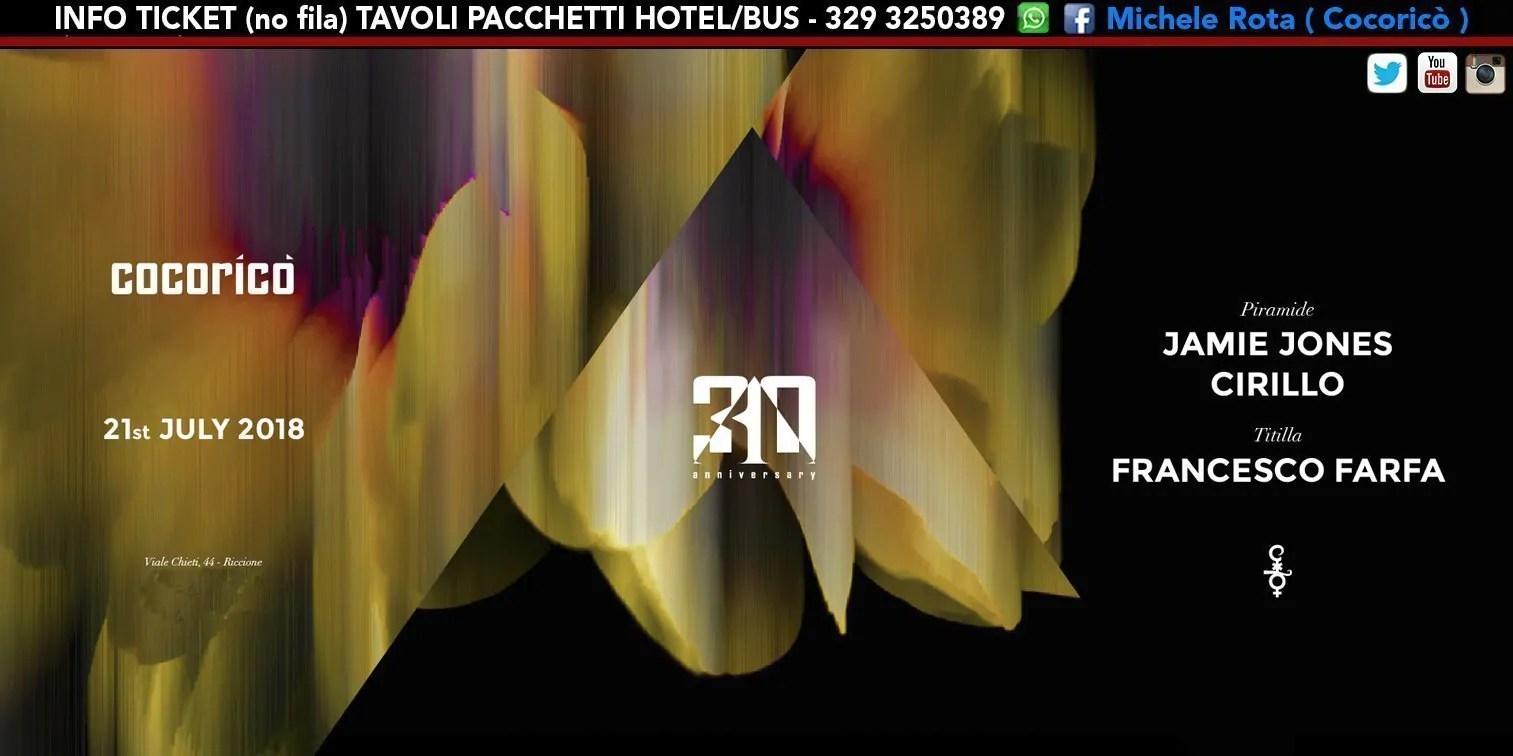 Jamie Jones Cocorico 21 Luglio 2018 Ticket Tavoli Pacchetti Hotel