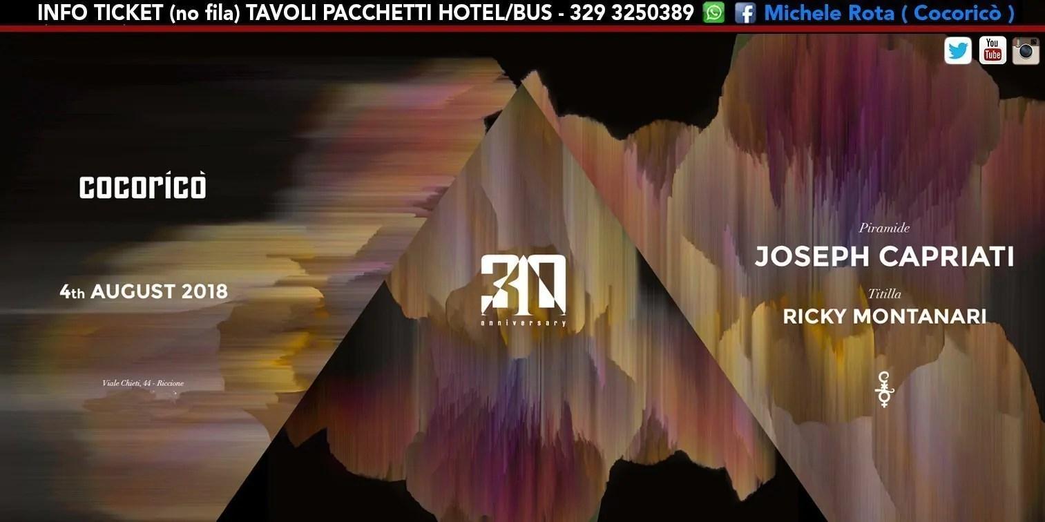 Joseph Caprtiati Cocorico 04 Agosto 2018 Ticket Tavoli Pacchetti Hotel