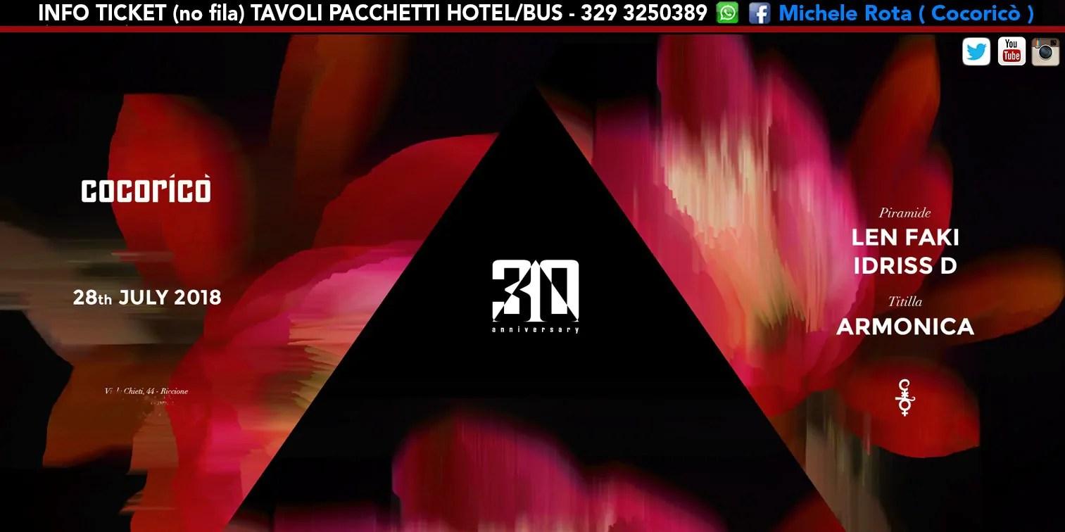 Len Faki Cocorico 28 Luglio 2018 Ticket Tavoli Pacchetti Hotel