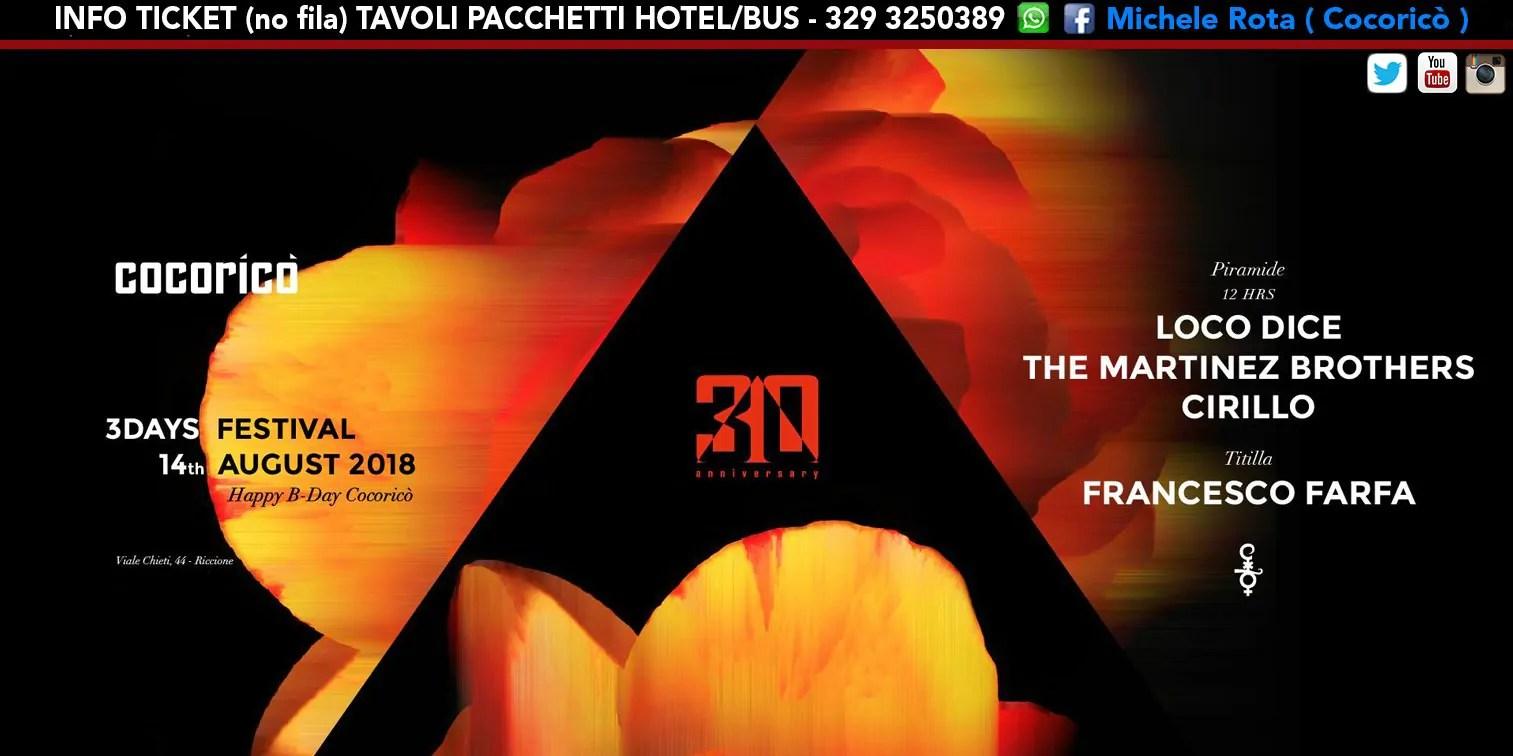 LOCO DICE al Cocoricò Riccione 3DAYS FESTIVAL – Martedì 14 Agosto 2018 | Ticket Online Tavoli Pacchetti hotel Prevendite
