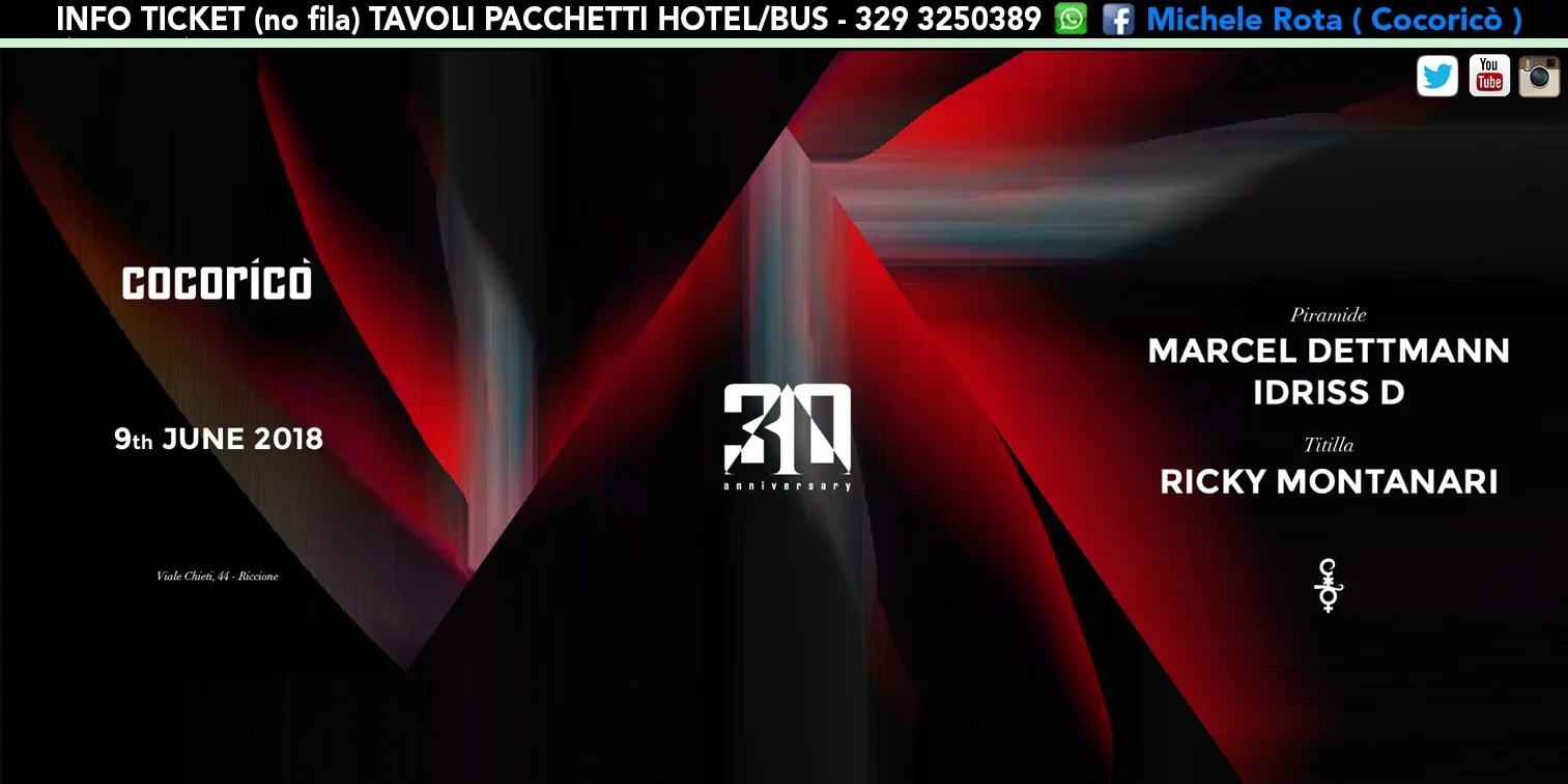 MARCEL DETTMANN al Cocoricò Riccione – Sabato 09 Giugno 2018 | Ticket Online Tavoli Pacchetti hotel Prevendite
