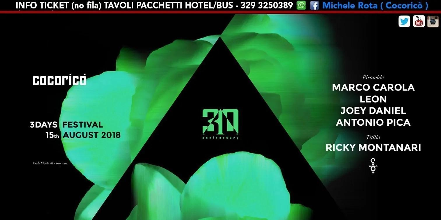 MARCO CAROLA al Cocoricò Riccione 3DAYS FESTIVAL – Mercoledì 15 Agosto 2018   Ticket Online Tavoli Pacchetti hotel Prevendite