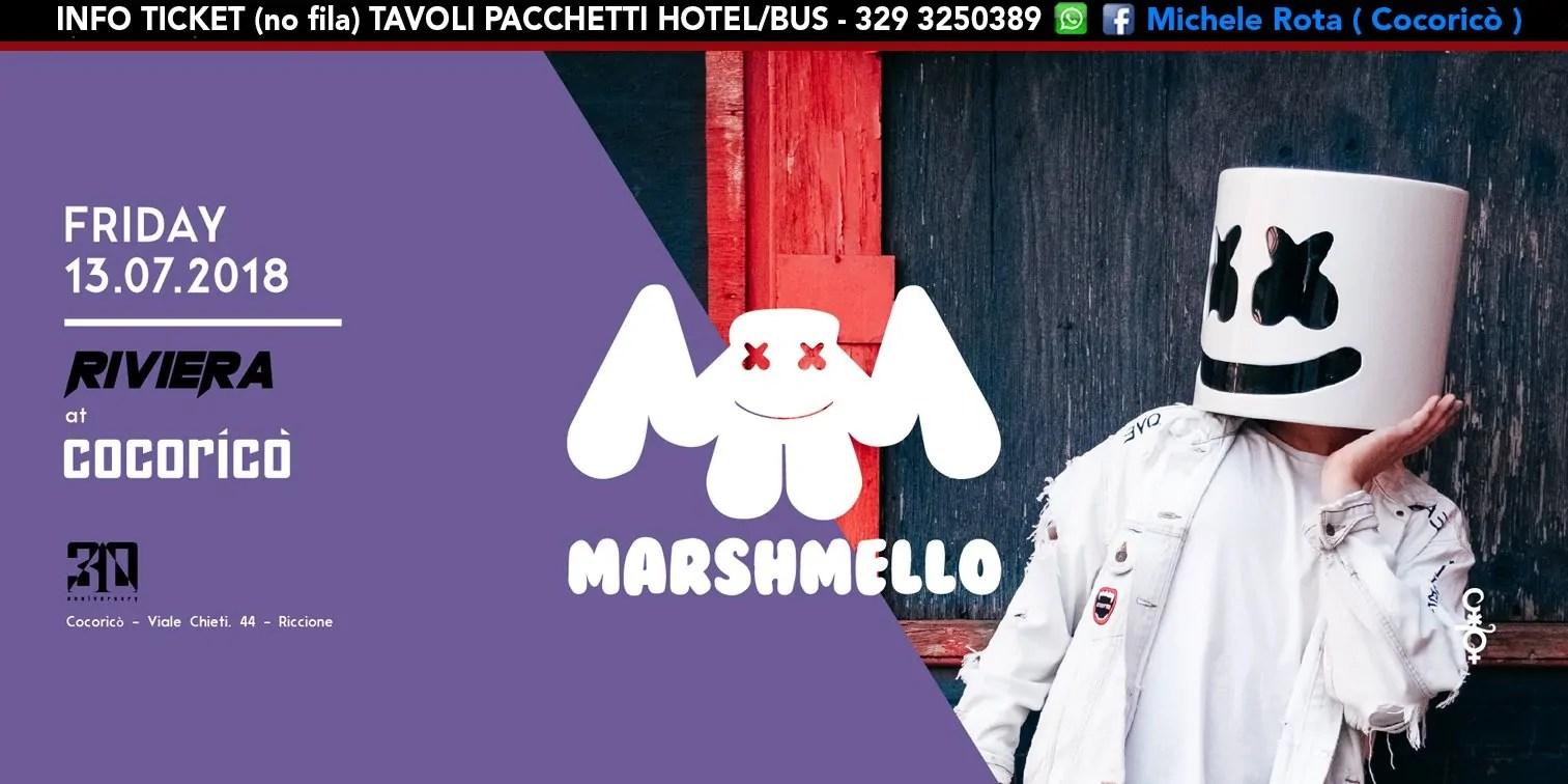 Marshmello al Cocoricò RIVIERA Riccione – Venerdì 13 Luglio 2018 | Ticket Tavoli Pacchetti hotel Prevendite