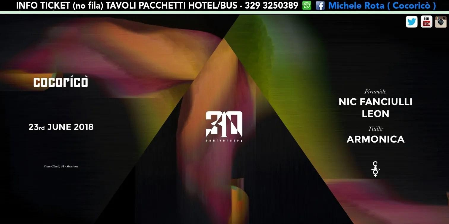 NIC FANCIULLI al Cocoricò Riccione – Sabato 23 Giugno 2018   Ticket Online Tavoli Pacchetti hotel Prevendite