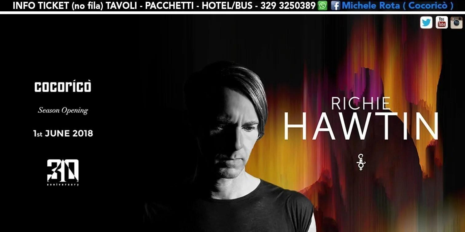 Richie Hawtin Cocorico 01 Giugno 2018 Ticket Pacchetti Hotel