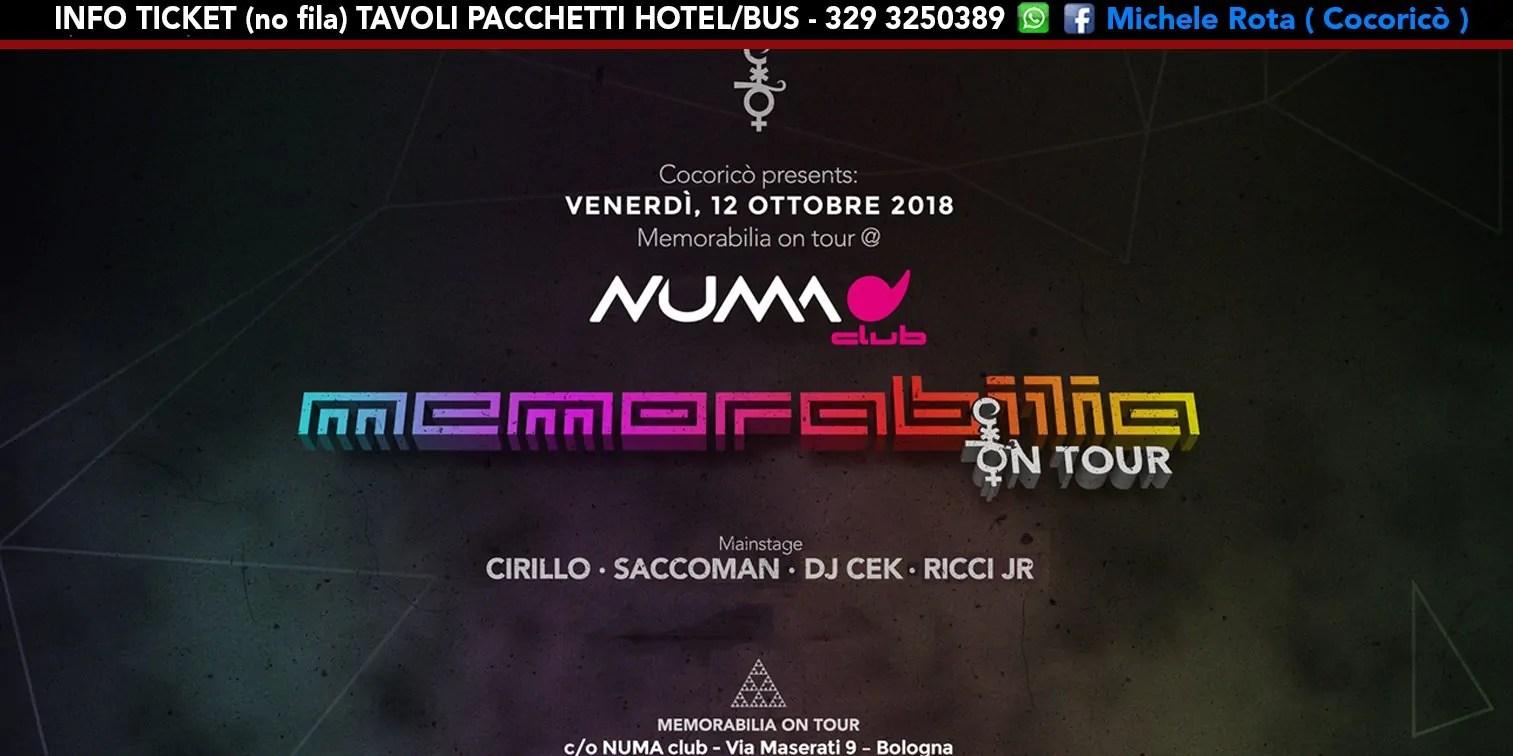 Memorabilia on Tour Numa Club Bologna – 12 Ottobre 2018 | Ticket Tavoli Pacchetti hotel Prevendite