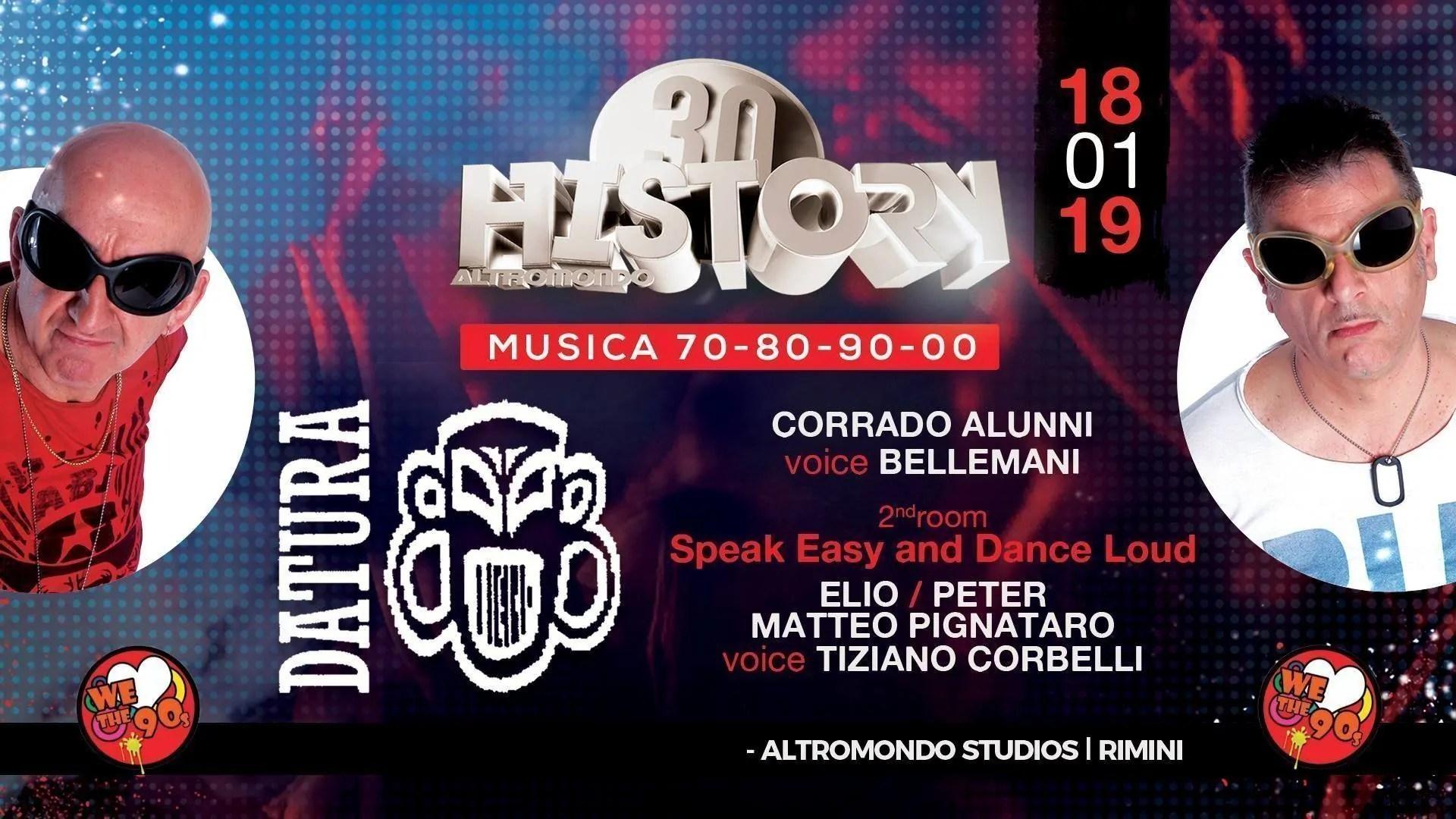 DATURA All' Altromondo Studios Rimini History – Venerdì 18 Gennaio 2018 | Ticket Tavoli Pacchetti Hotel Prevendite