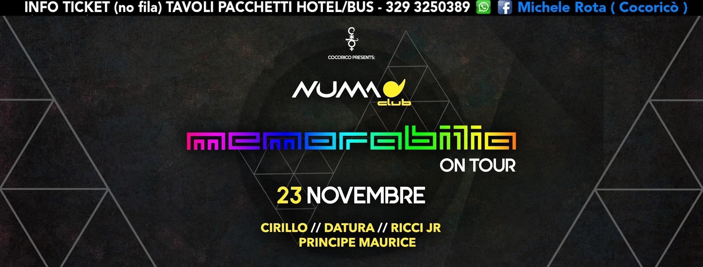 Memorabilia on Tour Numa Club Bologna – 23 Novembre 2018   Ticket Tavoli Pacchetti hotel Prevendite
