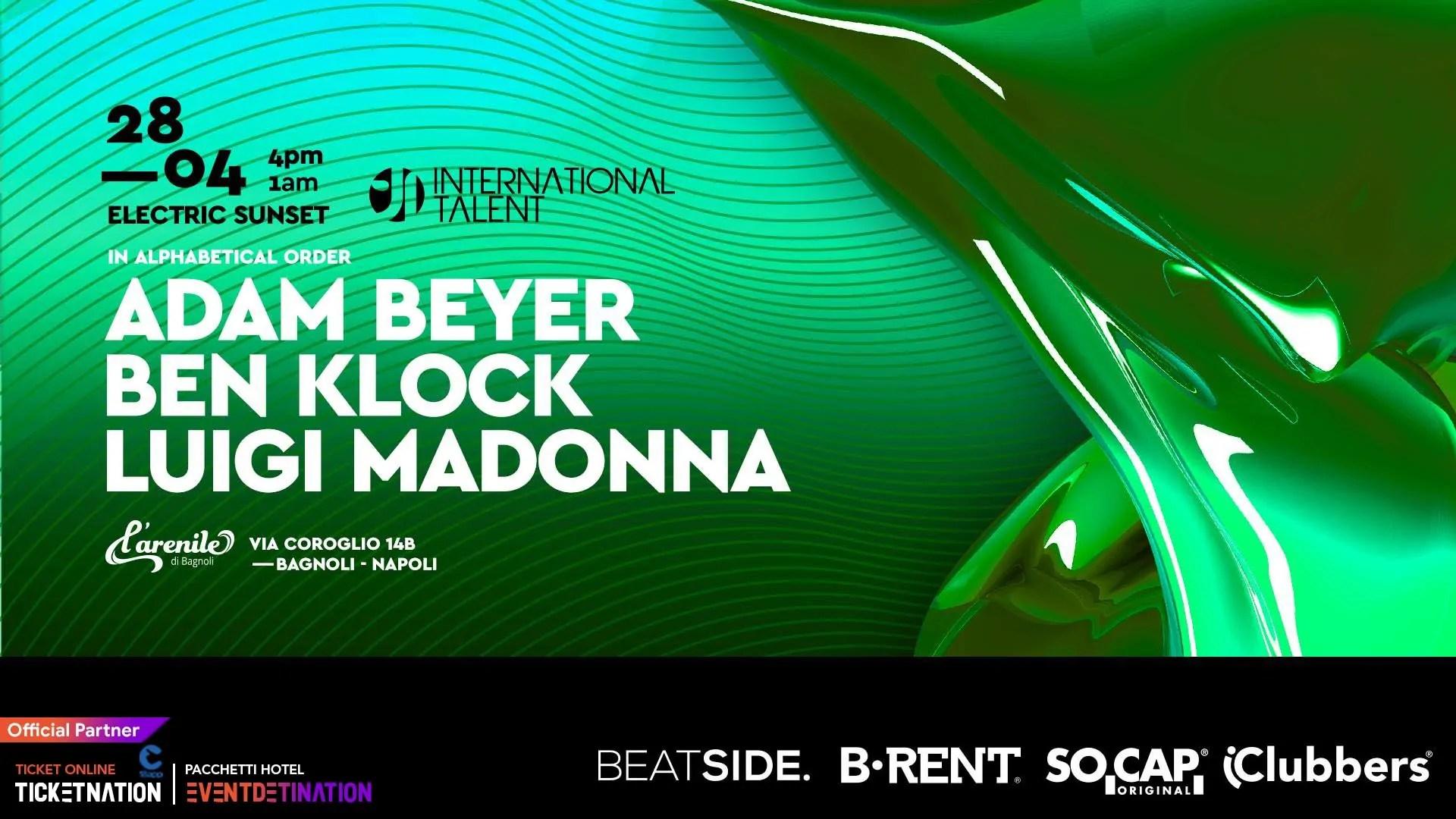 Adam Beyer, Ben Klock at Arenile Bagnoli Napoli International Talent – Domenica 28 Aprile 2019 | Ticket/Biglietti/Prevendite 18APP Tavoli Pacchetti hotel Prevendite