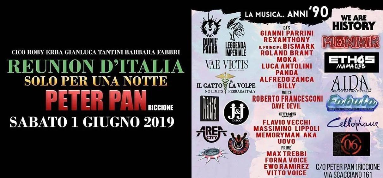 Reunion Peter Pan Riccione 01 Giugno 2019