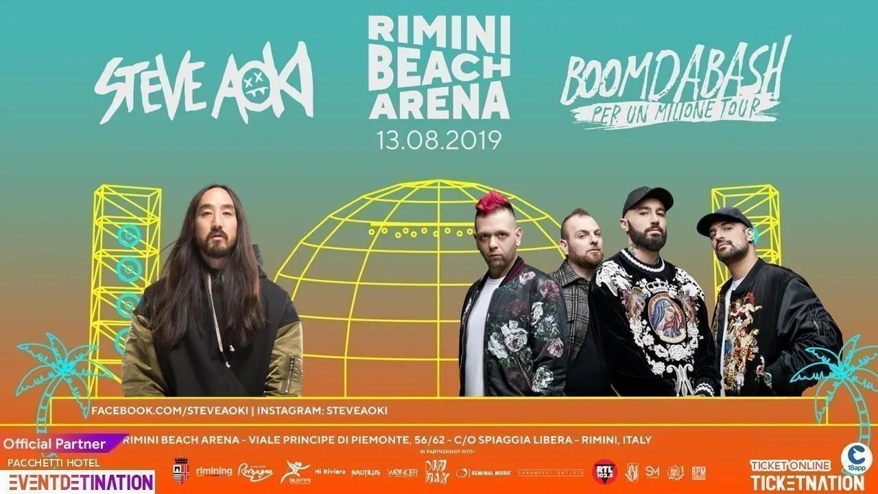 Steve Aoki Boomdabash Rimini Beach Arena 13 Agosto Ticket 18app E Pacchetti Hotel