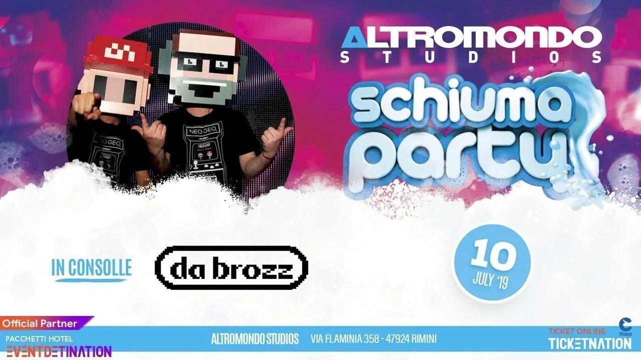 Schiuma Party Mercoledì 10 07 2019 Altromondo Studios Rimini + Prezzi Ticket/Biglietti/Prevendite 18APP Tavoli Pacchetti hotel