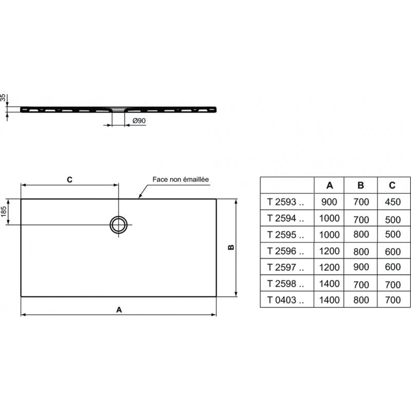 receveur gres strada poser encastrer 100 x 80 x 3 5 t2595yk discount negoce com