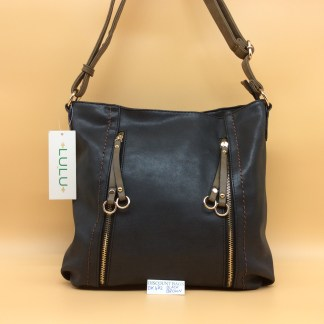 Lulu Fashion Bag. DK 482C. Black with Brown trim