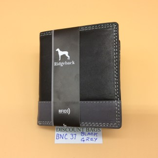 RFID Leather Wallet - NC37. Black/Grey