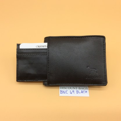 RFID Leather Wallet - NC 49. Black Stitching