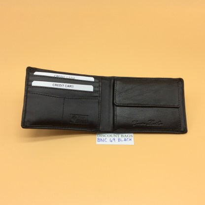 RFID Leather Wallet - NC49. Black stitching
