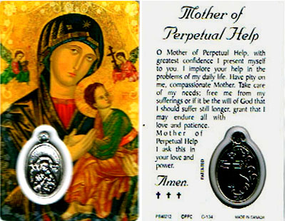 Perpetual Help Laminated Prayer Card With Medal