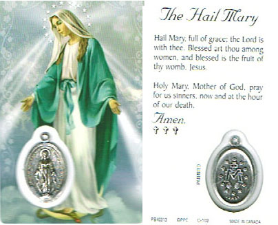 Hail Mary Laminated Prayer Card With Medal