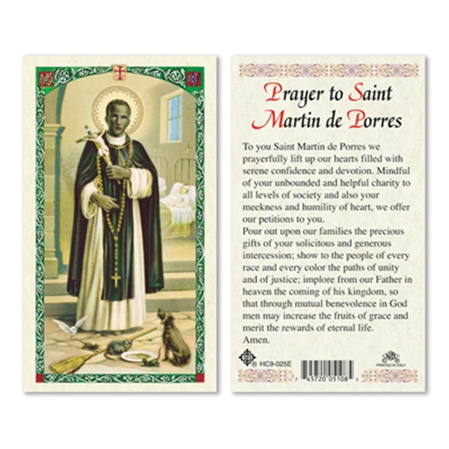 Prayer To St Martin De Porres Laminated Holy Card