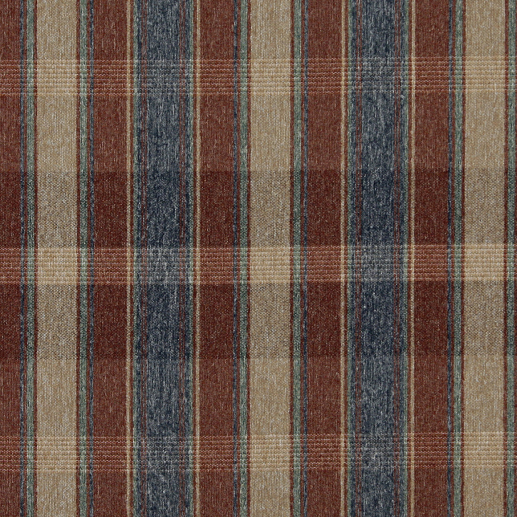 rustic red blue green and beige plaid country upholstery fabric by the yard