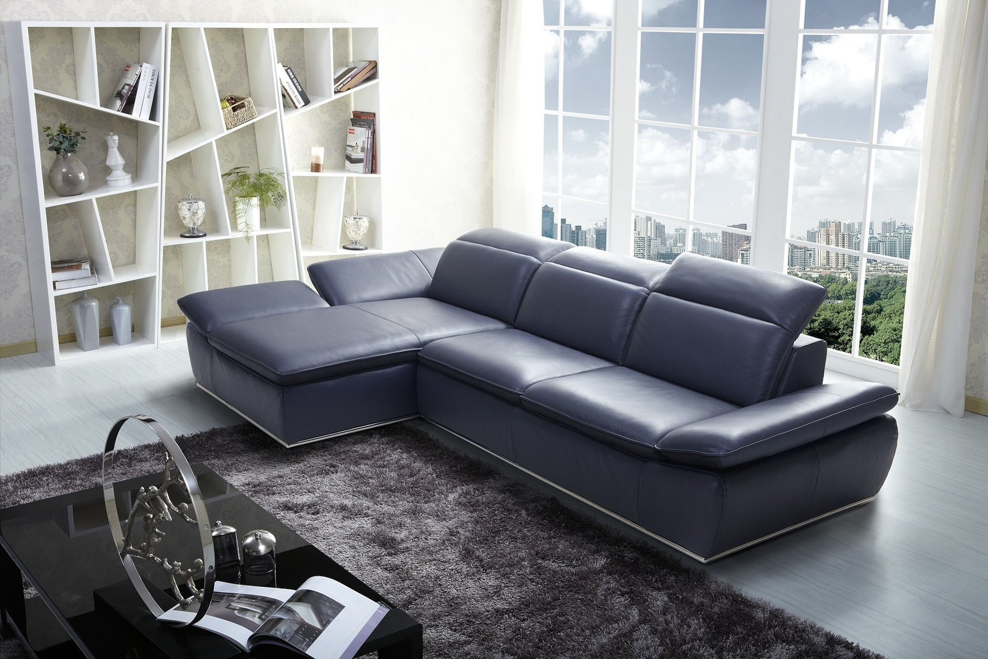 JampM Furniture 1799 Italian Modern Leather Sectional LAF