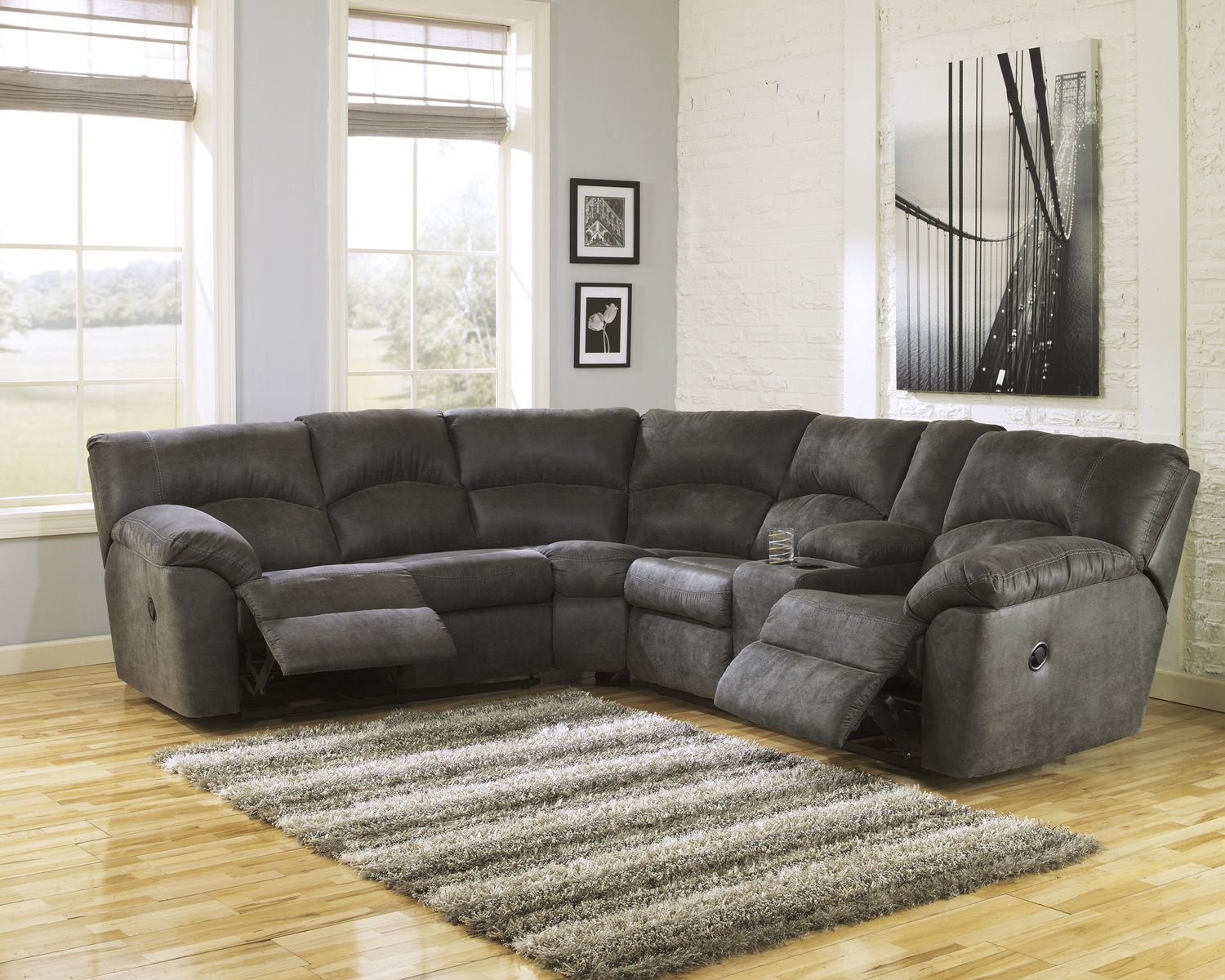 Tambo Reclining Sectional In Pewter