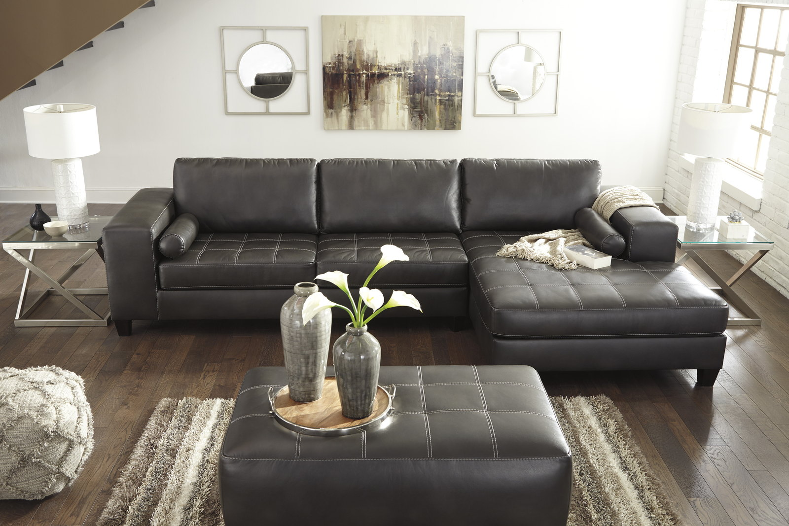 Nokomis 3 Piece Sectional Living Room Set In Charcoal