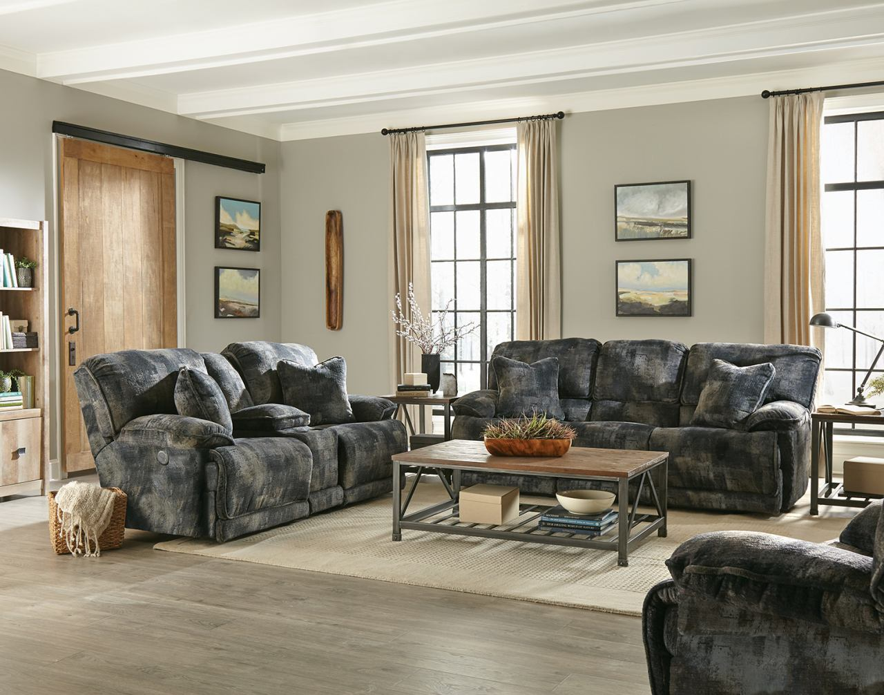 Catnapper Bolt 2pc Reclining Living Room Set In Pewter