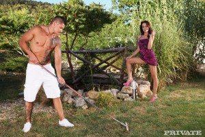 Sophie Lynx jerks off the gardener 1