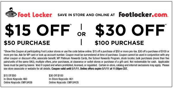 1550 Or 30100 Foot Locker Purchase Coupon