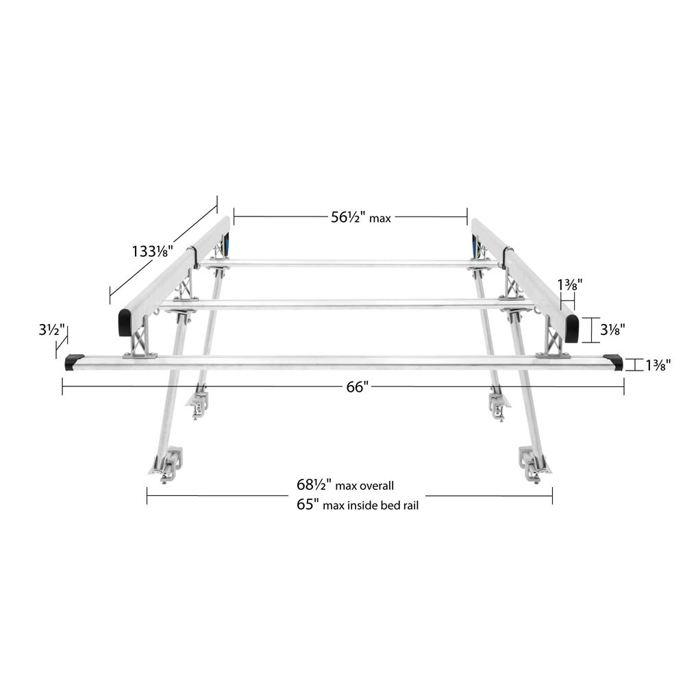 elevate outdoor aluminum universal over cab truck rack 800 lb capacity