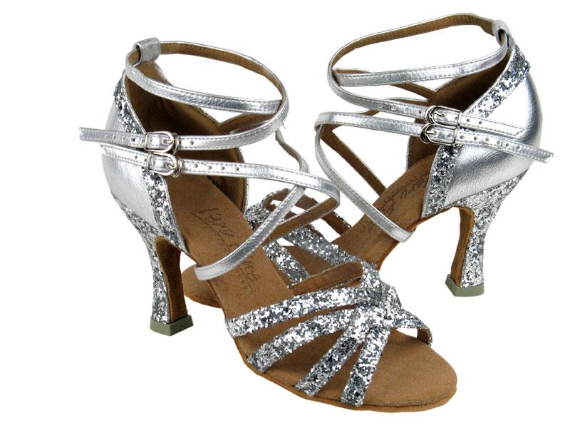 9824ec17ff C5008M Silver Sparkle & Silver Leather - Discount Salsa Shoes