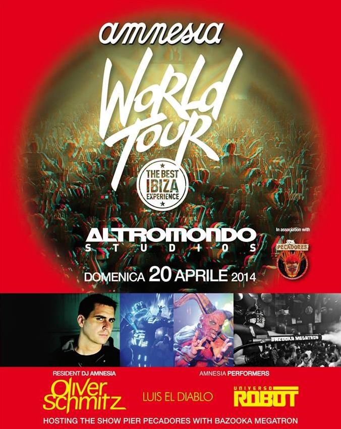 Domenica 20 Aprile discoteca Altromondo present Amnesia World Tour Pasqua 2014
