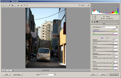 Using the straighten tool in Adobe Camera Raw