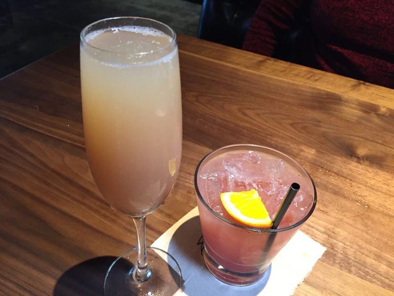 Peach Bellini and a twist on the Tequila Sunrise - Jimmys Famous America Tavern