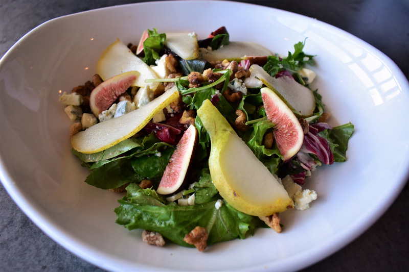 Figs and Zola Salad - Local mixed greens, fresh figs, caramelized walnuts,, Gorgonzola cheese and sliced bartlett pairs - Bettolino
