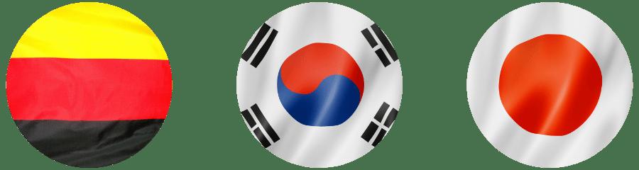 German Korean and Japanese flags