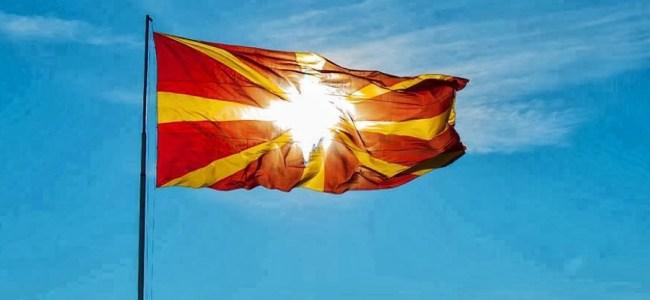 Macedonian flag on a pole