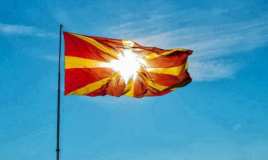 Macedonian flag on a pole