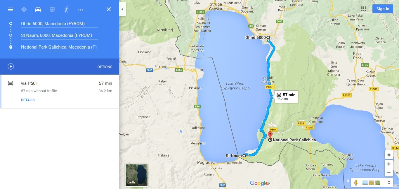 Ohrid To St Naum Map