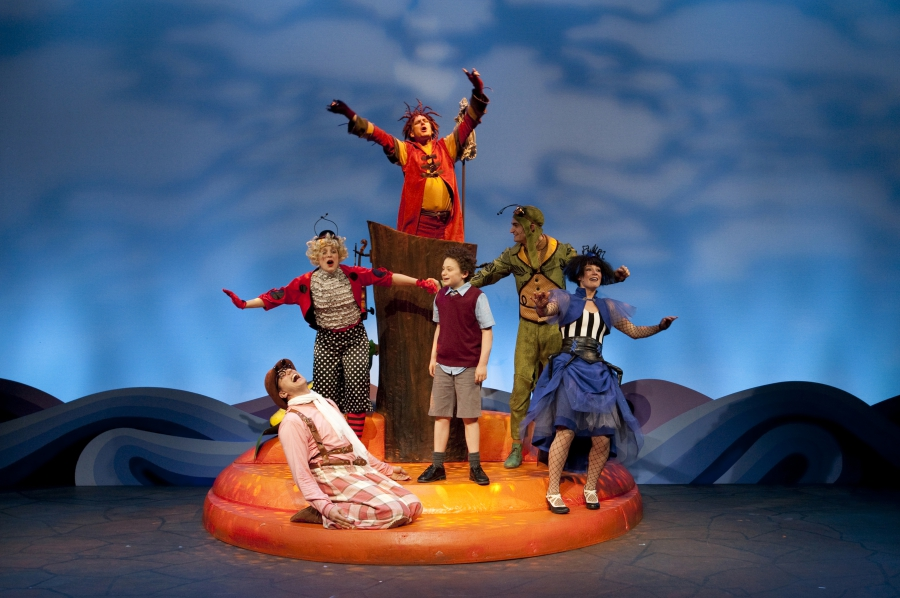 Jonathan Winsby (Earthworm), Julian Lokash (James), Alex Rose (Grasshopper), Makayla Moore (Spider), and Company for James and the Giant Peach (2014). Photo by Tim Matheson