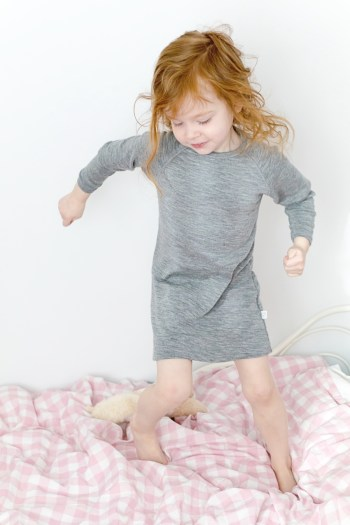 Simply Merino thermal merino wool pyjamas in heather grey