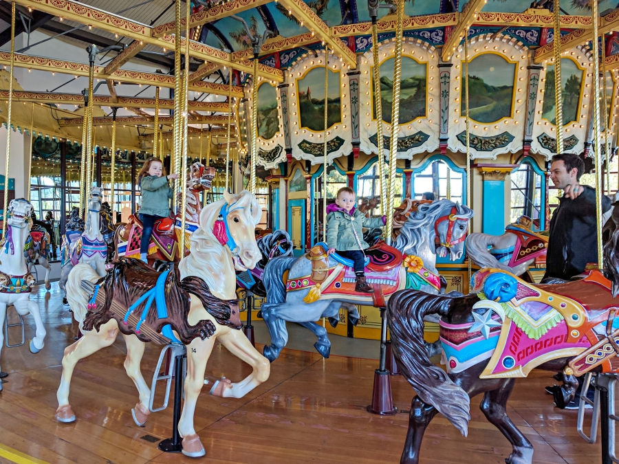 Family Day: Woodland Park Zoo, riding on the carousel