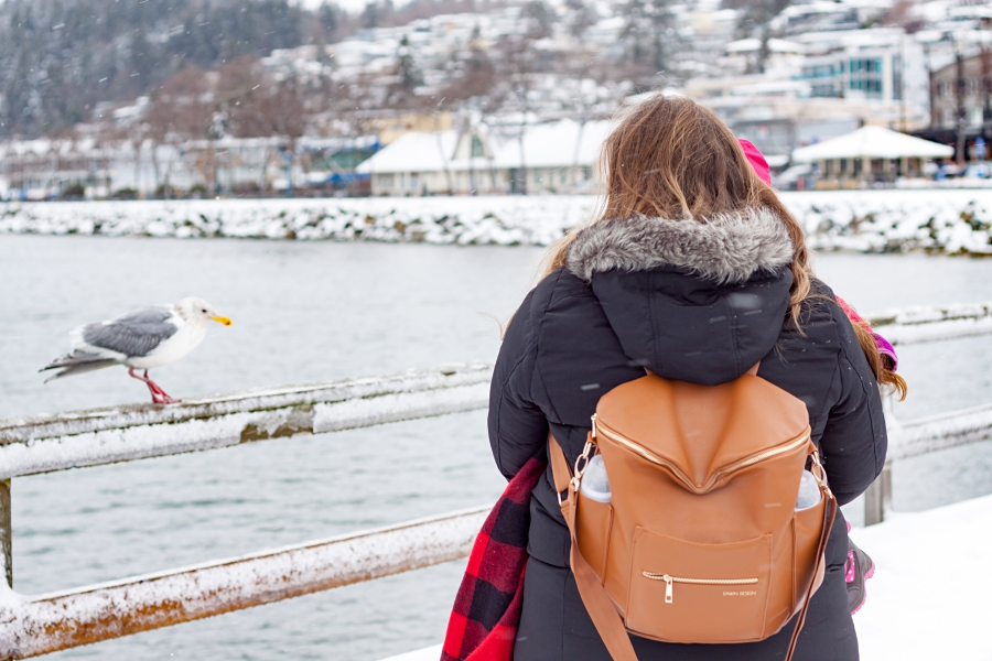 Mother holding her daughter on pier of White Rock while wearing Fawn Design diaper bag in brown.