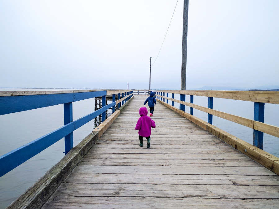 anxiety: pier stretching out to the ocean, two children walking down the pier