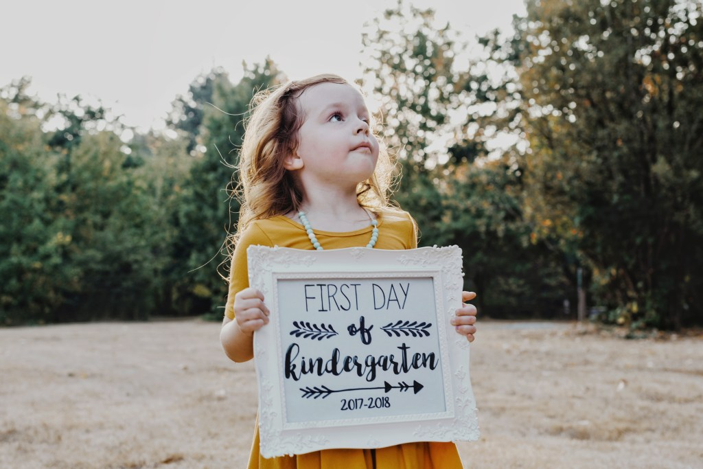 First day of kindergarten photo.