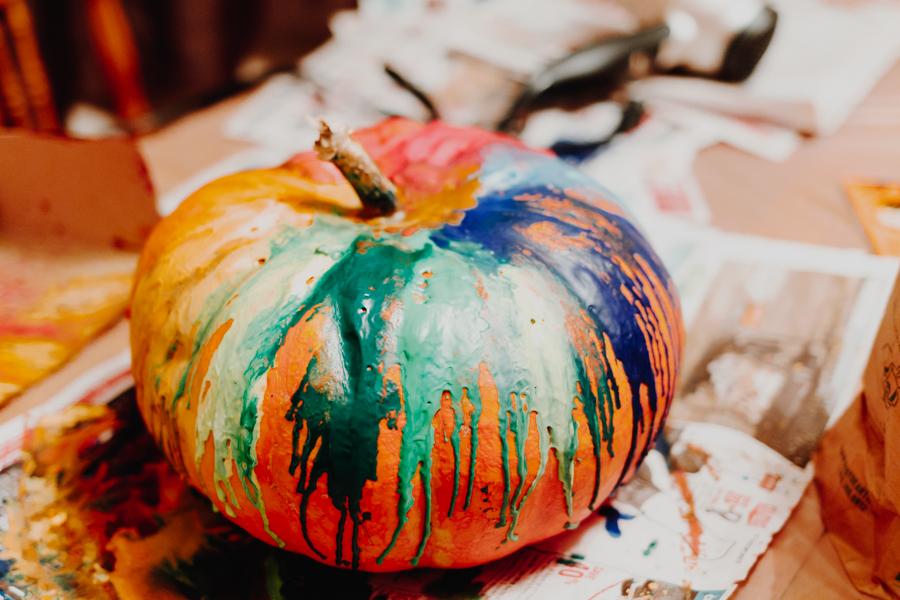 pumpkin carving, Halloween, melted crayon on a pumpkin