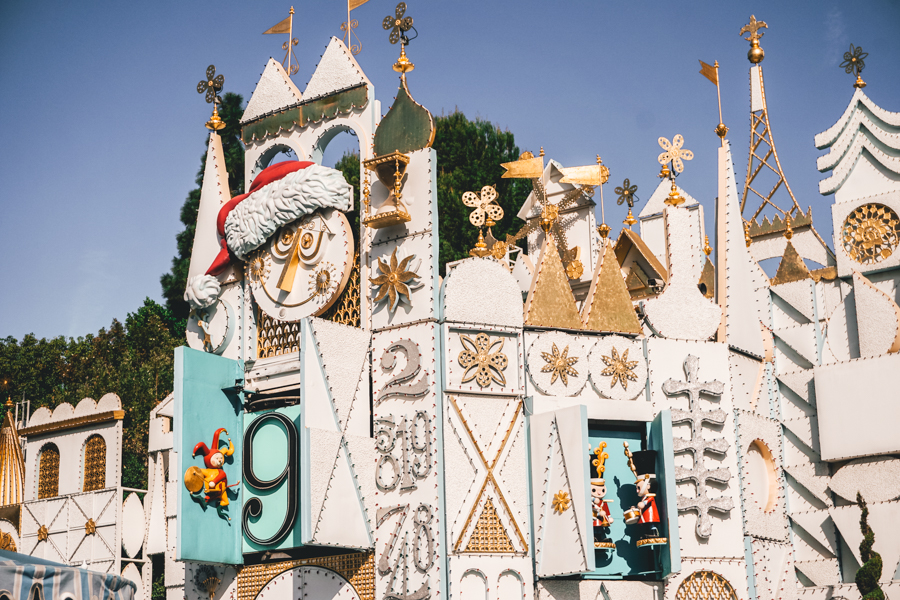 go for a one-on-one vacation, travel, family travel, family vacation, Disneyland, It's a Small World, Disneyland decorated for the holidays